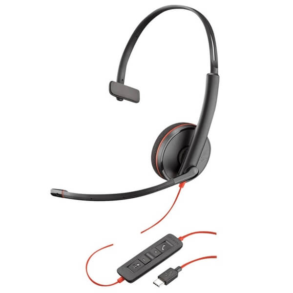 Plantronics Blackwire 3210 Corded USB-C Headset for Dragon Dictate