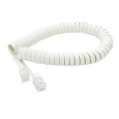 Telephone Handset Receiver Curly Cable - White